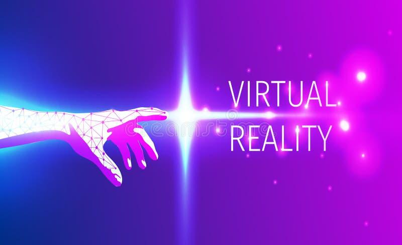 Futuristische handaanraking van virtuele werkelijkheidsruimte royalty-vrije stock foto's
