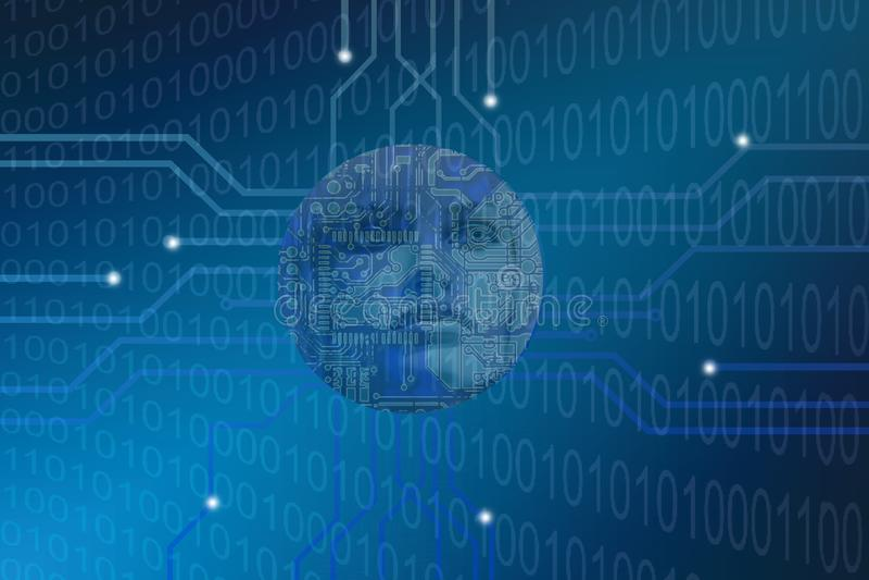 Futuristische het concepten binaire codes van de humanoidkunstmatige intelligentie stock illustratie