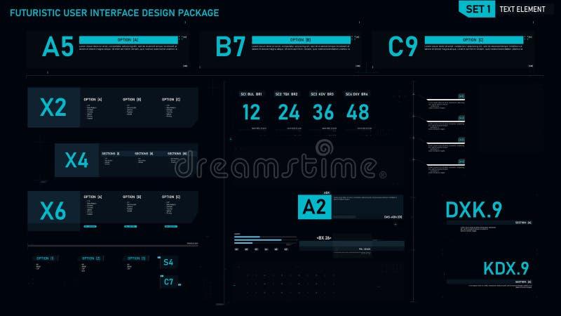 Futuristische het elementenreeks 01 van het gebruikersinterfaceontwerp royalty-vrije illustratie