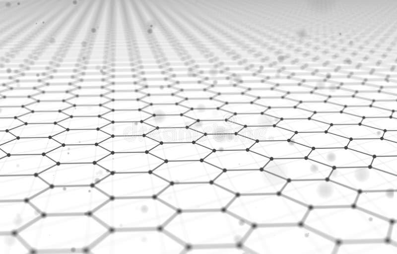 Futuristische Hexagon Patroon Abstracte Achtergrond 3d geef illustratie terug Ruimteoppervlakte Lichte achtergrond sc.i-FI Punten vector illustratie