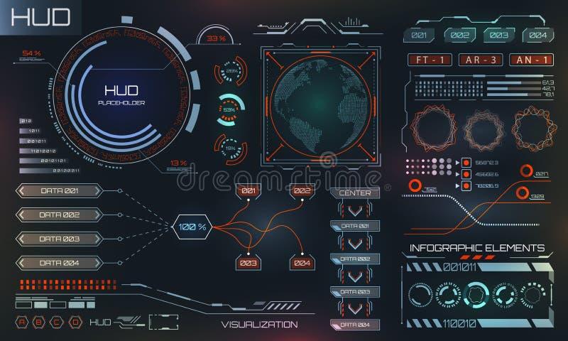 Futuristische Interface Hud Design, Infographic-Elementen, Technologie en Wetenschap, Analysethema stock illustratie