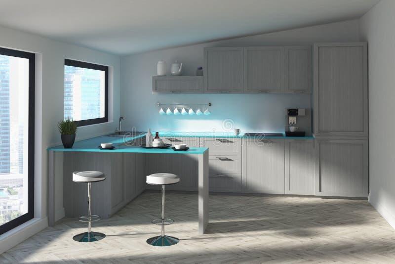 Futuristische Küche mit einer Stange, blau lizenzfreie abbildung
