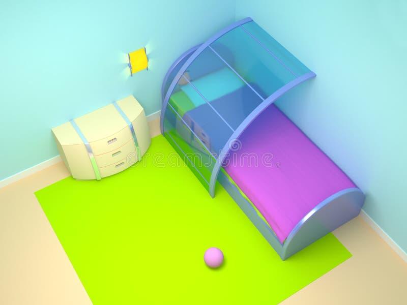 Futuristische kindslaapkamer royalty-vrije illustratie