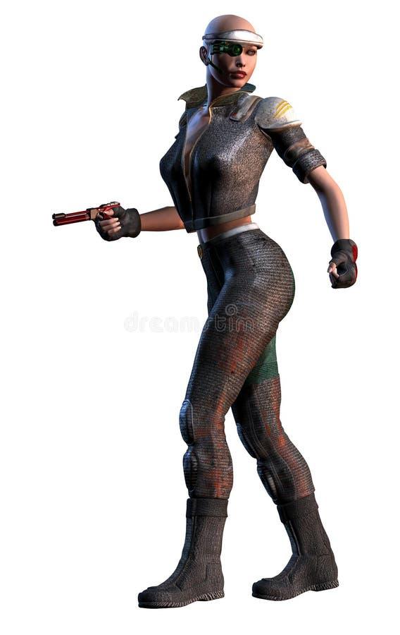 Futuristische Kriegersfrau mit Gewehr, weißer Hintergrund, Illustration 3d vektor abbildung