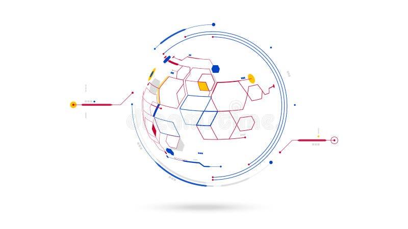 Futuristische KugelDatennetz-Entwurfselemente extrahieren Hintergrund lizenzfreie abbildung