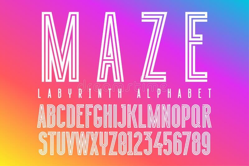 Futuristische Labyrinthalphabetbuchstaben stock abbildung