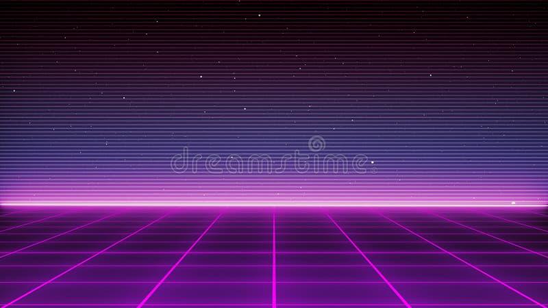 Futuristische Landschaft des Retro- Sciencefictions-Hintergrundes der achtziger Jahre Digital-Cyber-Oberfläche lizenzfreie abbildung