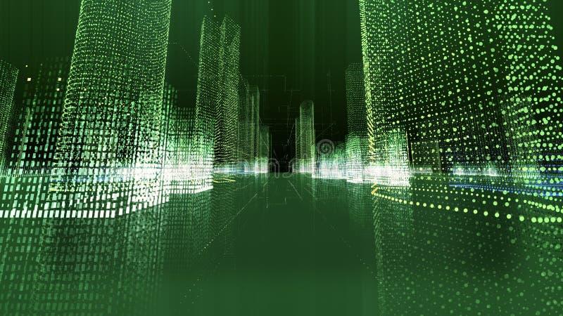 Futuristische Matrixhologrammstadt Digital-Plan von Gebäuden mit Partikeln lizenzfreie abbildung