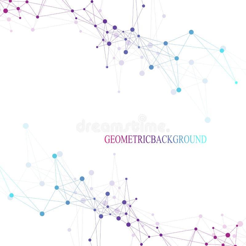 Futuristische mededeling als achtergrond, globalisering Lijnen en punten met Science fictionscène die worden verbonden Moderne ve vector illustratie