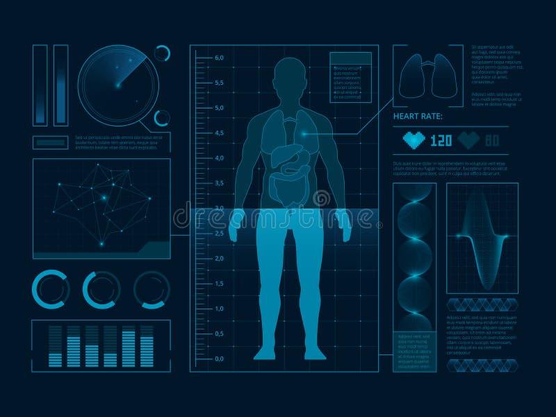 Futuristische medische symbolen van aftasten voor Webinterface De visualisatie van digitale mens verifieert Vectorhud vector illustratie