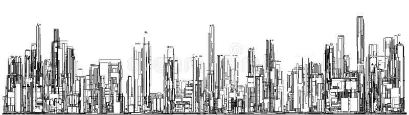 Futuristische Megalopolisstad van Wolkenkrabbersvector stock illustratie