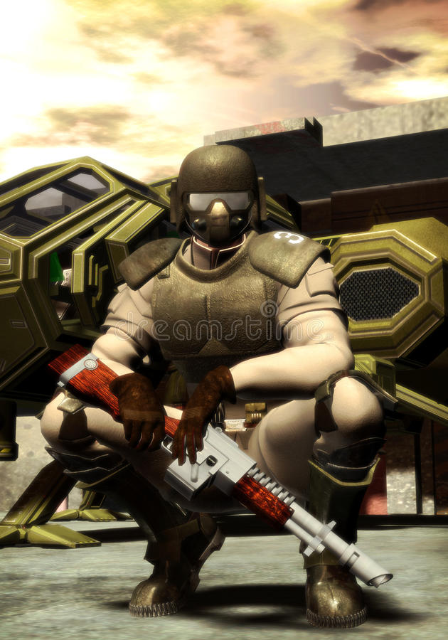 Futuristische militair stock illustratie