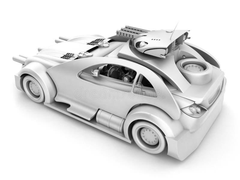 Futuristische militaire auto met droid royalty-vrije illustratie