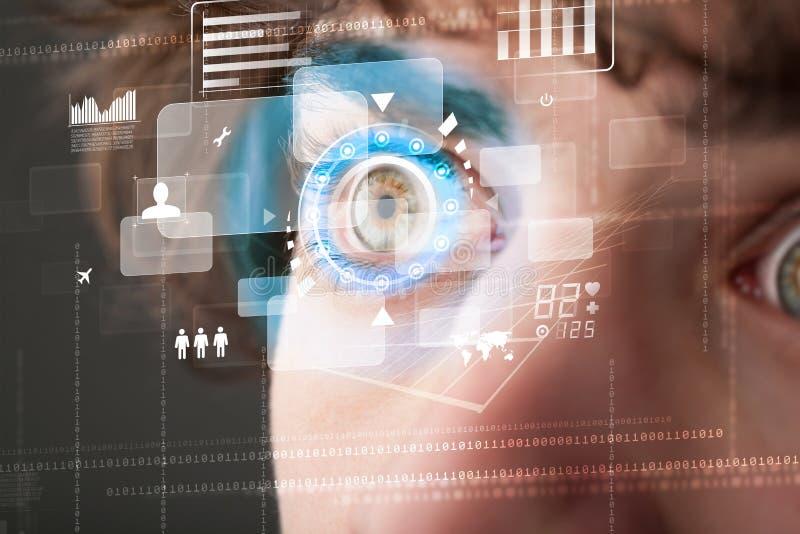 Futuristische moderne cybermens met het oogpaneel van het technologiescherm vector illustratie