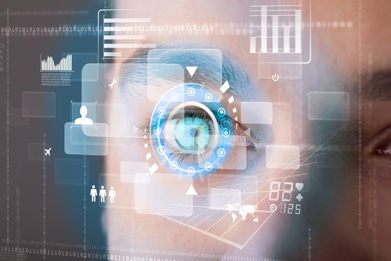 Futuristische moderne cybermens met het oogpaneel van het technologiescherm stock illustratie