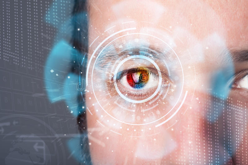 Futuristische moderne cybermens met het oogpaneel van het technologiescherm royalty-vrije illustratie