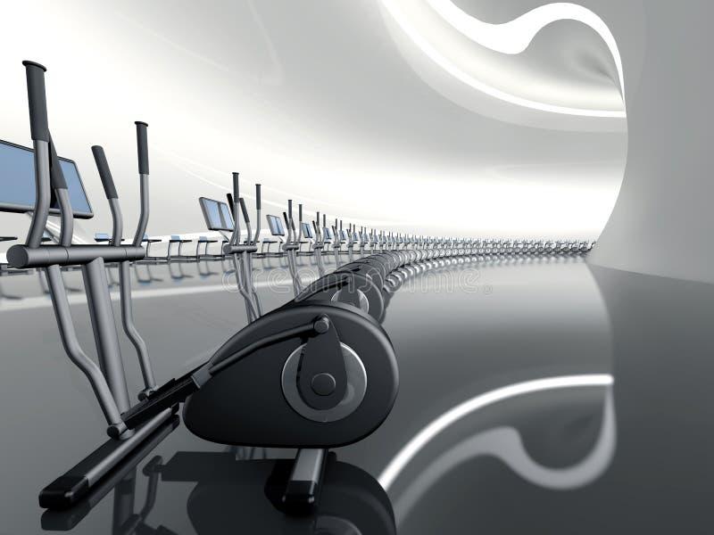 Futuristische moderne gymnastiek elliptische dwarstrainer vector illustratie