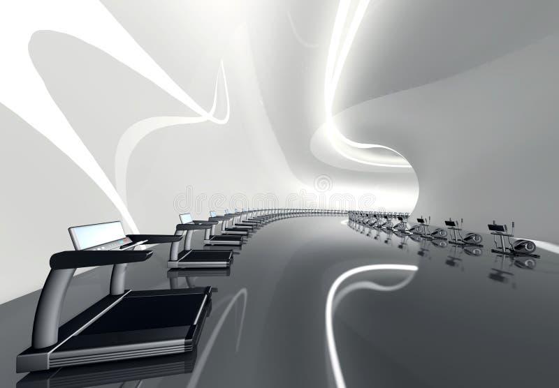Futuristische moderne gymnastiek elliptische dwarstrainer stock illustratie