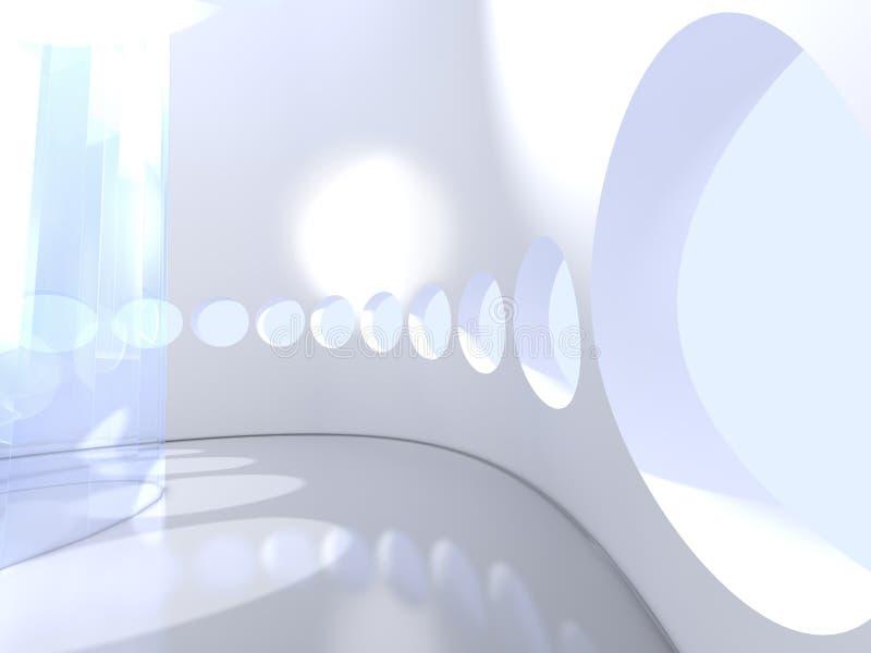 Futuristische moderne ronde binnen met glas royalty-vrije illustratie
