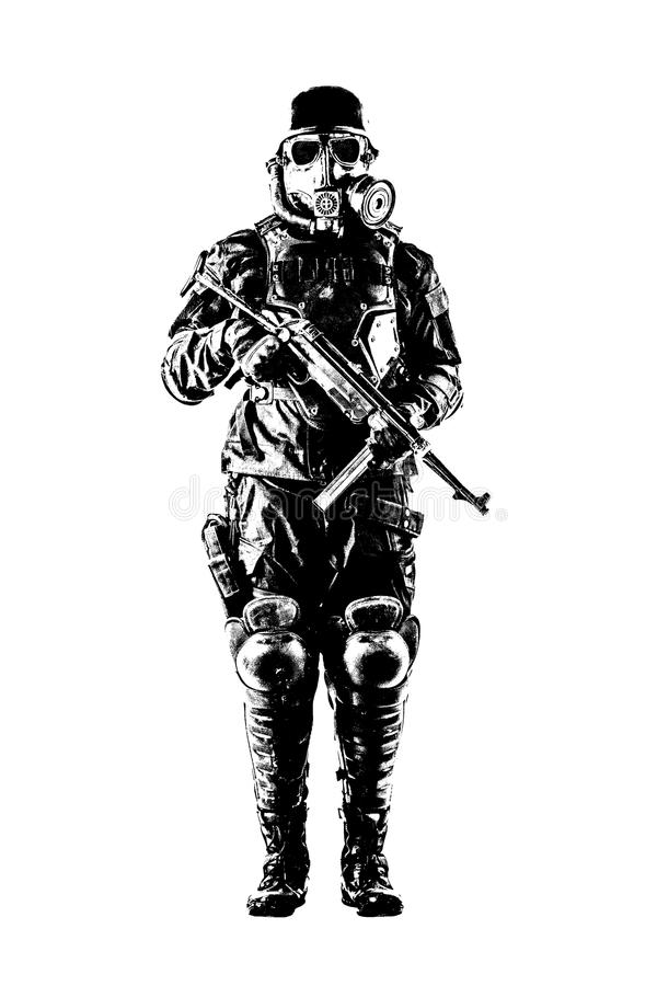 Futuristische nazi militair met schmeisser royalty-vrije stock fotografie