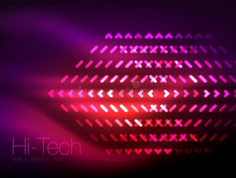 Futuristische neonlichten op donkere achtergrond, digitale abstracte technoachtergronden stock illustratie