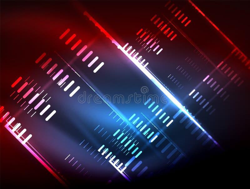 Futuristische Neonlichter auf dunklem Hintergrund, digitale abstrakte techno Hintergründe lizenzfreie abbildung