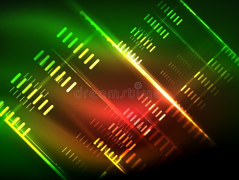 Futuristische Neonlichter auf dunklem Hintergrund, digitale abstrakte techno Hintergründe vektor abbildung