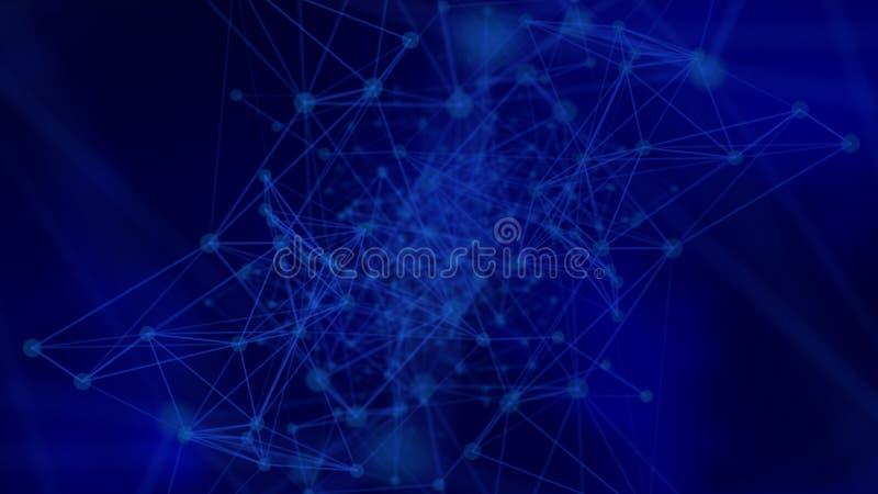 Futuristische netwerkachtergrond - abstracte punten en lijnen vector illustratie
