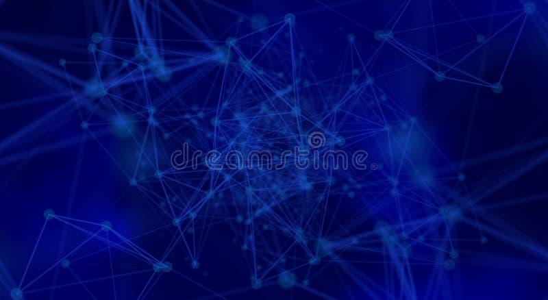 Futuristische netwerkachtergrond - abstracte punten en lijnen op blauw vector illustratie