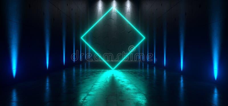 Futuristische Ondergrondse Schip neon het Achtergrond Grote van Hall Gallery Room Sci Fi Poort het Gloeien Blauwe Bezinningen ove royalty-vrije illustratie