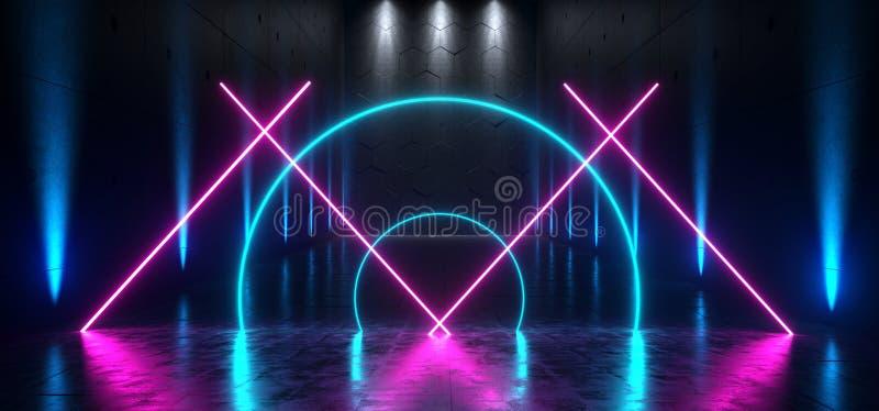 Futuristische Ondergrondse Schip neon het Achtergrond Grote van Hall Gallery Room Sci Fi Poort het Gloeien Blauwe Purpere Bezinni stock illustratie