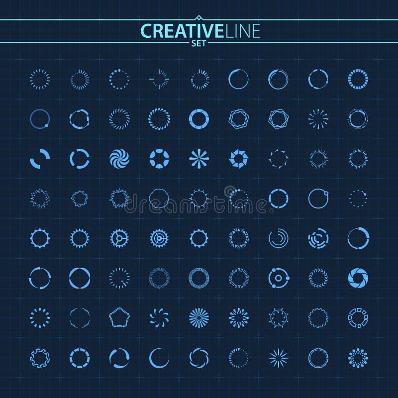 Futuristische ontwerppreloader geplaatste spinnercirkels stock illustratie