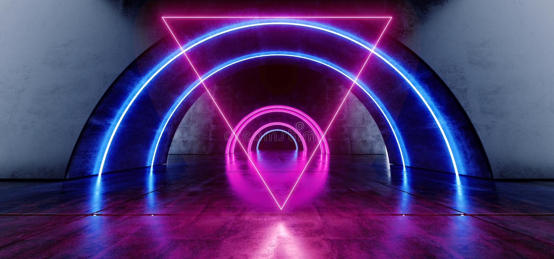 Futuristische Ovale Cirkelneon het Gloeien Purpere Blauwe Driehoek Gestalte gegeven Laserstraallichten op Concrete Grunge-Vloer W stock illustratie