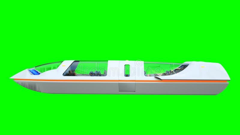 Futuristische passagiers vliegende bus Vervoer van de toekomst het 3d teruggeven isoleert stock illustratie