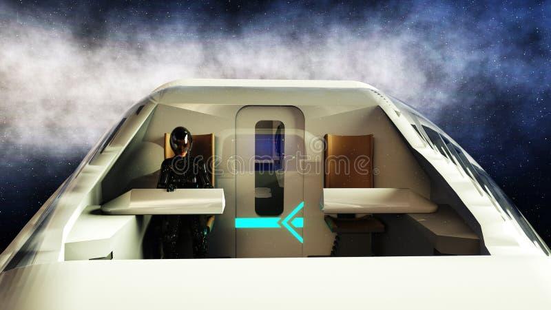 Futuristische passagiersbus die in ruimte vliegen Vervoer van de toekomst het 3d teruggeven stock illustratie