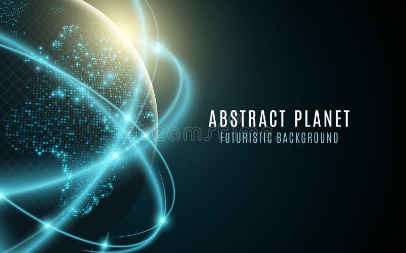 Futuristische Planetenerde Glühende Weltkarte von Punkten entziehen Sie Hintergrund Raum-Zusammensetzung Verbindung des globalen  lizenzfreie abbildung
