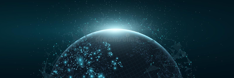 Futuristische Planetenerde Weltkarte von glühenden quadratischen Punkten Moderner abstrakter Hintergrund Raum-Zusammensetzung Abb stock abbildung