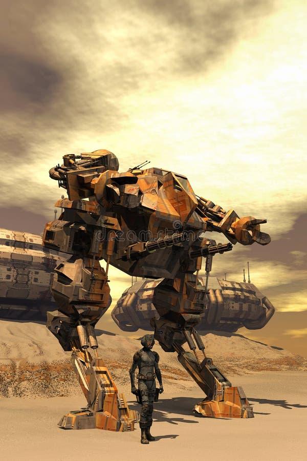 Futuristische proef en mecha van de gevechtsrobot stock illustratie