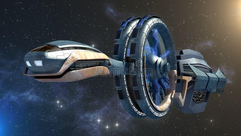 Futuristische Raumfahrzeug-Wiedergabe vektor abbildung