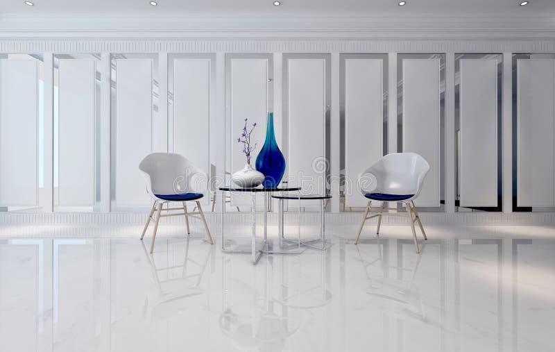 Elegant Download Futuristische Ruimte Met Minimalistische Stoelen En Lijsten Stock  Illustratie   Afbeelding: 66731199