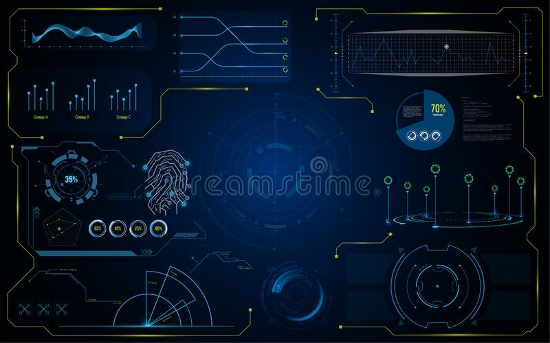 Futuristische Schablone des virtuellen Systems Hud GUI-Schnittstelle lizenzfreie abbildung