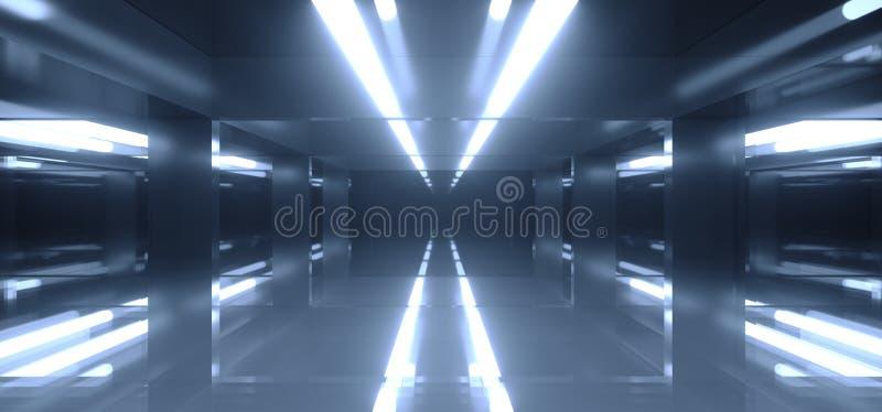Futuristische Sci FI-Dunkelkammer mit vielen Lichtern und Reflexionen vektor abbildung