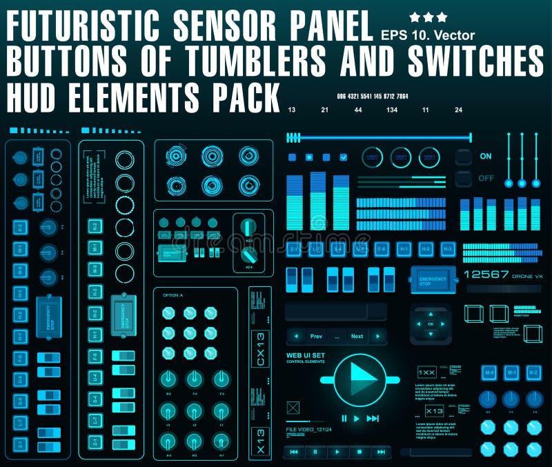 Futuristische Sensor-Platte Knöpfe von Trommeln und von Schaltern HUD-Elementsatz vektor abbildung
