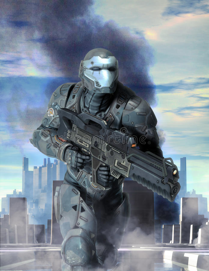 Futuristische Soldatrüstung am Krieg stockfoto