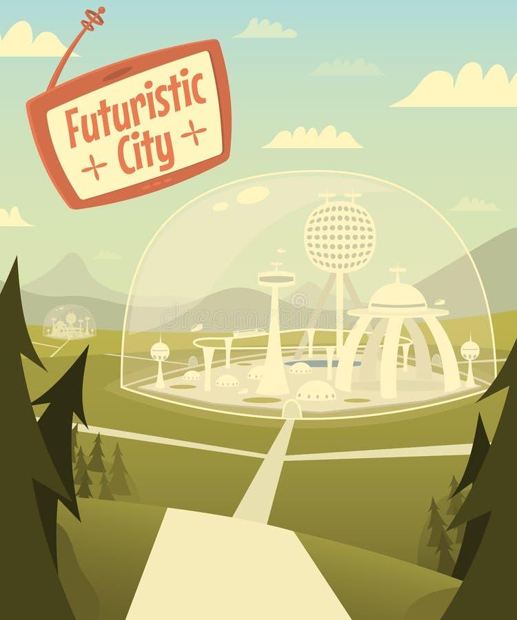 Futuristische stad royalty-vrije illustratie