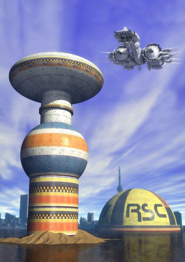Futuristische stad stock illustratie
