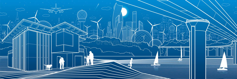 Futuristische stad Het stedelijke leven Stadsinfrastructuur Industriële illustratie Grote brug Mensen op rivierbank Moderne huize royalty-vrije illustratie