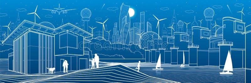 Futuristische stad Het stedelijke leven Stadsinfrastructuur Industriële illustratie Rivierdam De rivier Dniepr Mensen het Lopen royalty-vrije illustratie