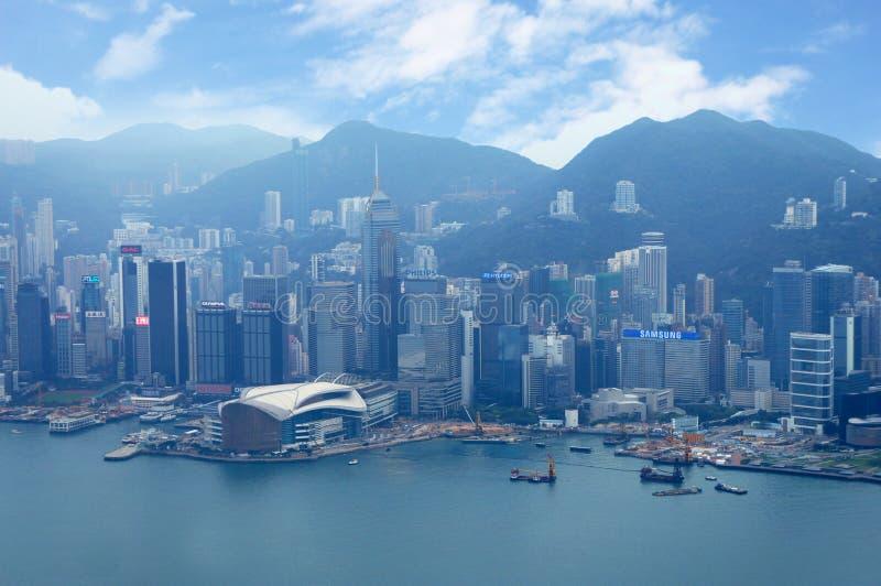 Futuristische stad Hong Kong stock foto