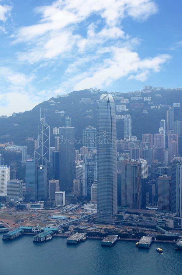Futuristische stad Hong Kong stock afbeeldingen